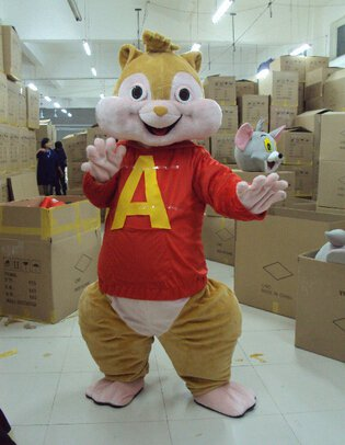 Custom made Alvin and the Chipmunks mascot costume for Christmas party