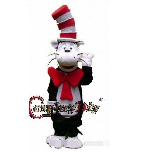 Custom made cat in hat mascot costume cat mascot cstume for party