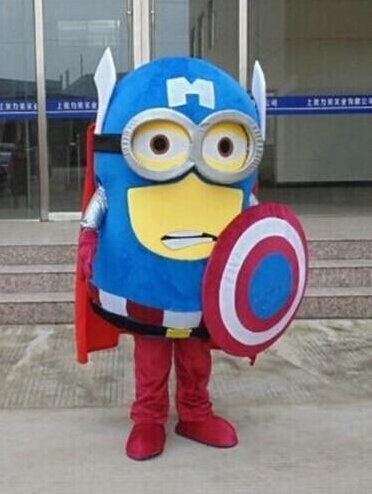 Despicable Me Captain America Minion mascot costume for party