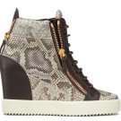 *Brand New* Authentic Giuseppe Zanotti Natural python-embossed calf leather upper David Wedge