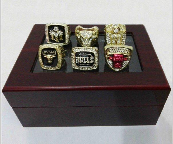 Chicago Bulls 1991/1992/1993/1996/1997/1998 Basketball Championship Replica Rings With Display Box