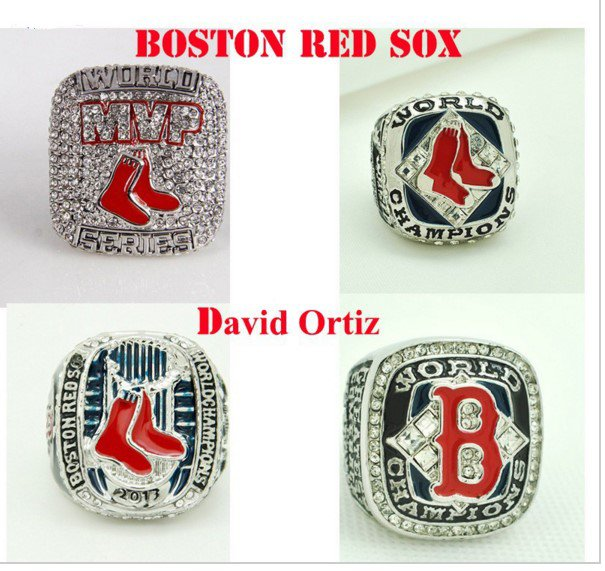 Boston Red Sox 4 Ring World Series Champions Replica Ring & MVP RING Set 04,07,13