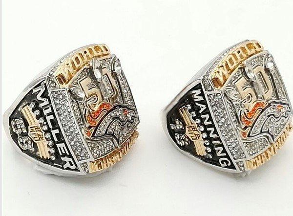 Peyton Manning/Von Miller Set/Denver Broncos 50th Super Bowl Championship RIng Sizes 9-12