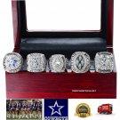 Dallas Cowboys SILVER PLATED Championship Replica Super Bowl 5 Ring Box Set-71,77,92,93,95
