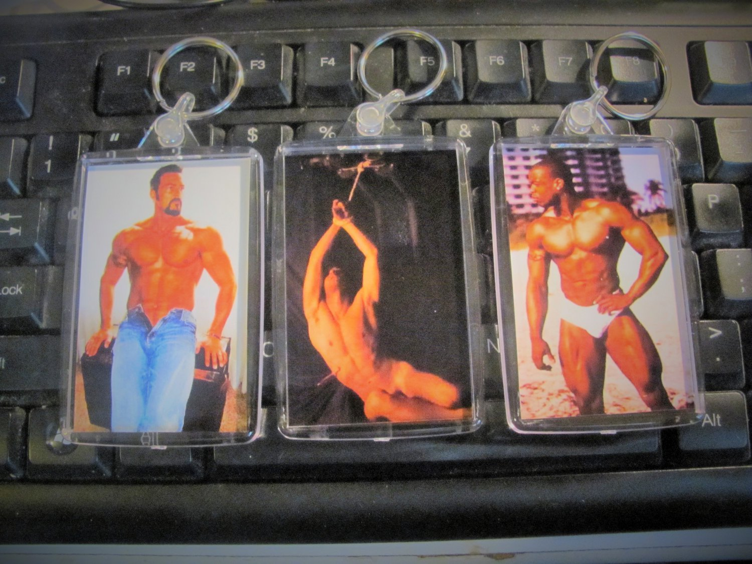 Hunky guys, muscle men key chains, large size, double sided, choice of 6 fetish men.