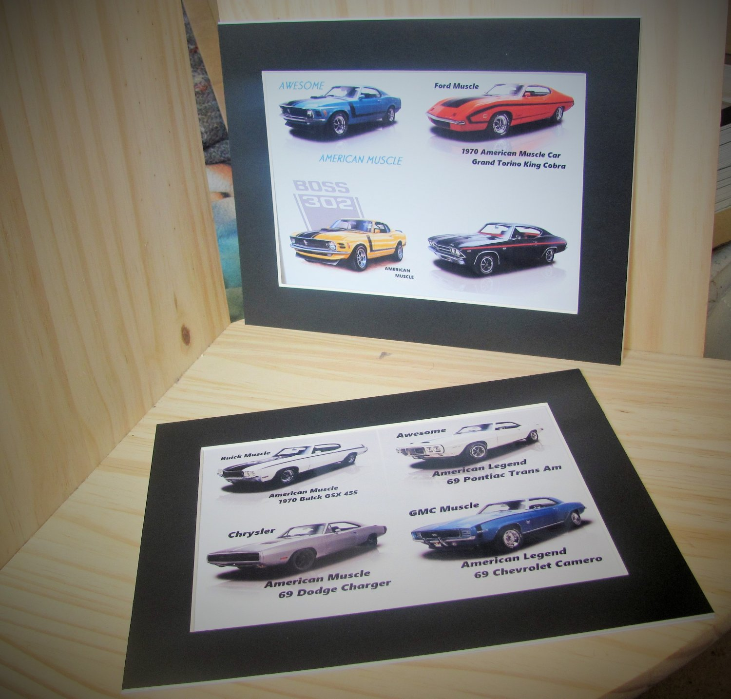 "American muscle car prints x 2, 10"" x 8"" mounted in black frame mounts"