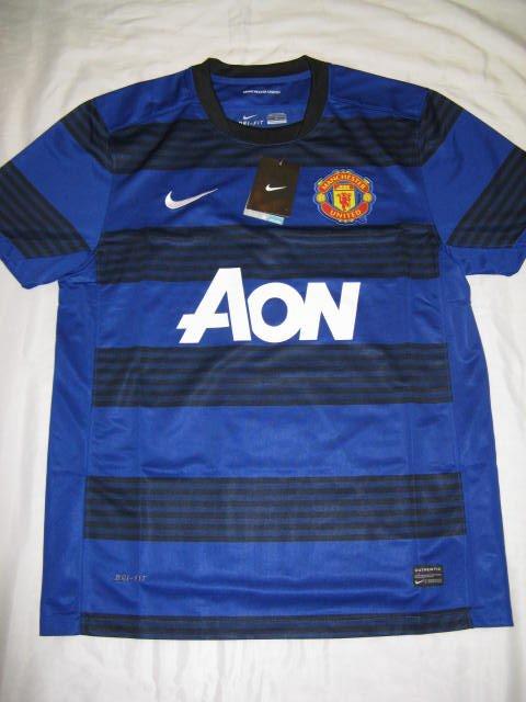 Manchester United Men's Large Nike Dri-Fit Aon Blue/Black Striped Home Jersey