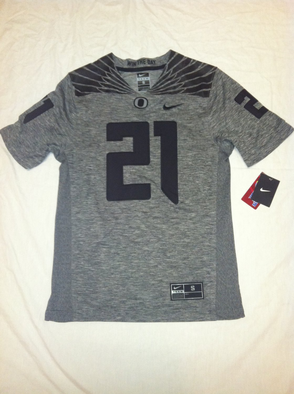 Oregon Ducks #21 Gray & Black Large Nike Gridiron Limited Jersey