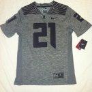 Oregon Ducks #21 Gray & Black XL Nike Gridiron Limited Jersey