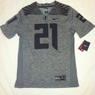 Oregon Ducks #21 Gray & Black 2XL Nike Gridiron Limited Jersey
