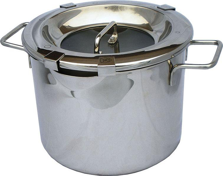 MICHNIK 6 Qt Stock Pot 8 in 1, Polished, Stainless Steel, Adjustable Straining, Induction