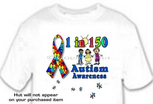 T-Shirt, AUTISM AWARENESS, RIBBON, 1 in 150 -- #1 -- (adult Xxlg)