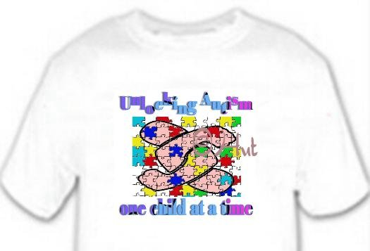 T-Shirt, UnLOCKING AUTISM One Child at a Time - (Adult 4xLg - 5xLg)