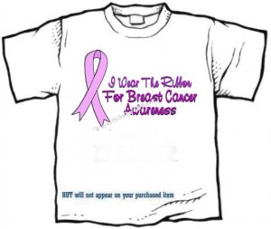 T-shirt, Breast Cancer Awareness. I Wear The Ribbon -  (Adult 4xLg - 5xLg)