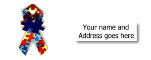 90 AUTISM AWARENESS RIBBON Address Labels