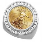 GORGEOUS 18KT White Gold Men's Diamond Coin Ring With A 22kt yellow gold 1/10 Oz American Eagle