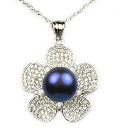 GORGEOUS GENUINE BLACK PEARL FLOWER PENDANT WITH STERLING SILVER CHAIN