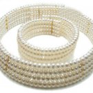 SIMILAR PRINCESS D GENUINE FRESHWATER 4 ROW PEARL COLLAR NECKLACE AND BRACELET SET