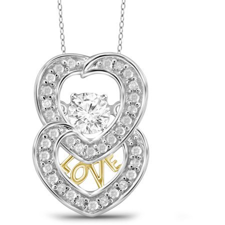 GORGEOUS 10KT white GOLD DIAMOND DOUBLE HEART PENDANT NECKLACE ROPE CHAIN VALENTINE GIFT