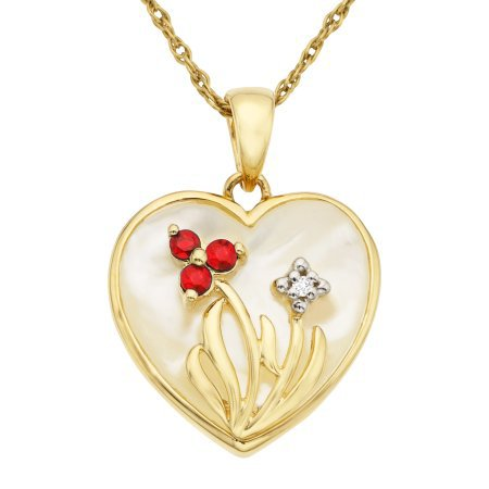 GORGEOUS 10KT YELLOW GOLD DIAMOND PEARL RUBY HEART PENDANT NECKLACE CHAIN
