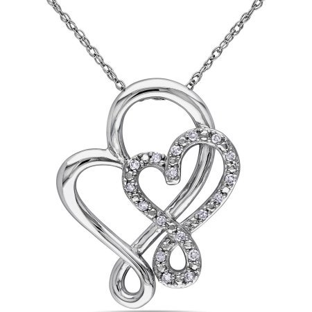 GORGEOUS 10KT white GOLD DIAMOND DOUBLE HEART PENDANT NECKLACE CHAIN VALENTINE GIFT