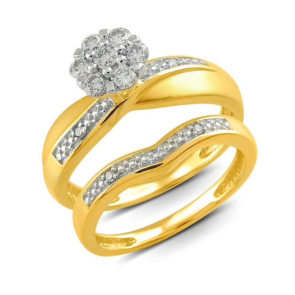 GORGEOUS 10kt YELLOW Gold .25 CARAT DIAMOND ENGAGEMENT WEDDING BAND RING SET