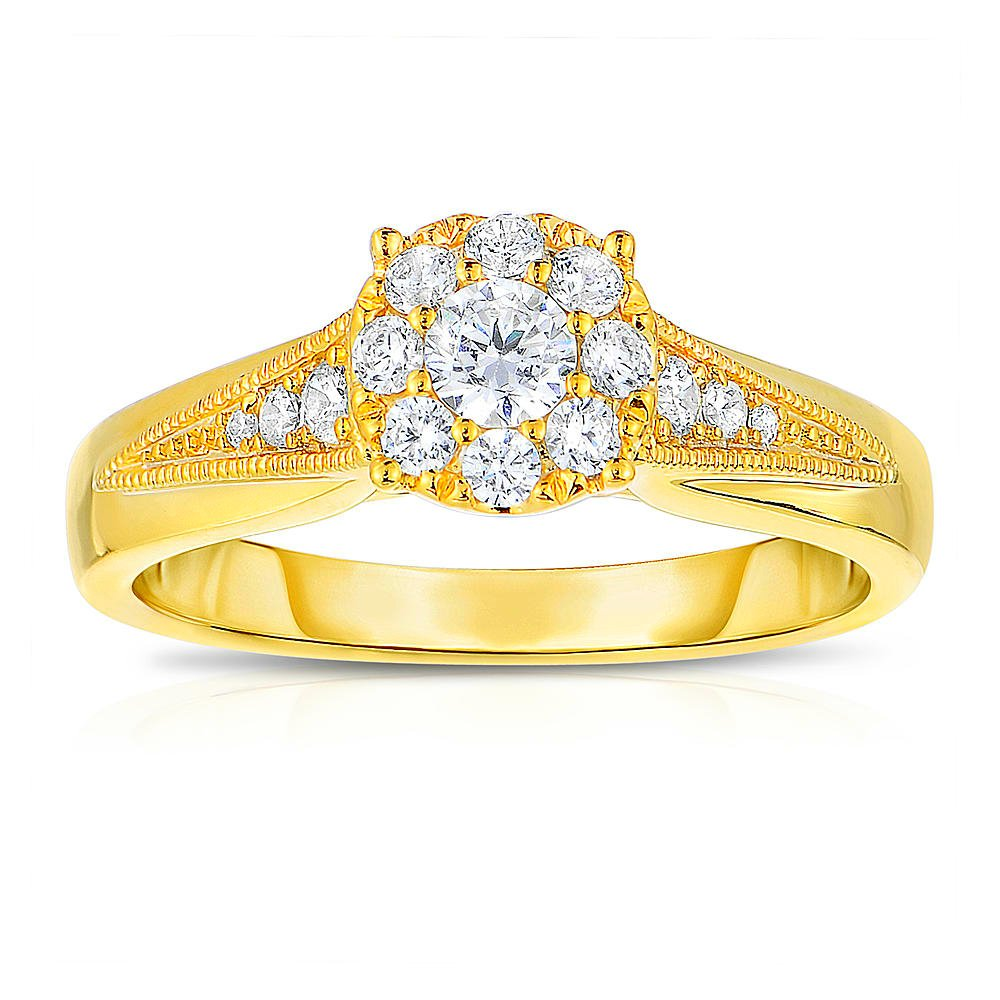GORGEOUS 10kt Yellow GOLD HIGH QUALITY .50 CARAT DIAMOND ENGAGEMENT RING
