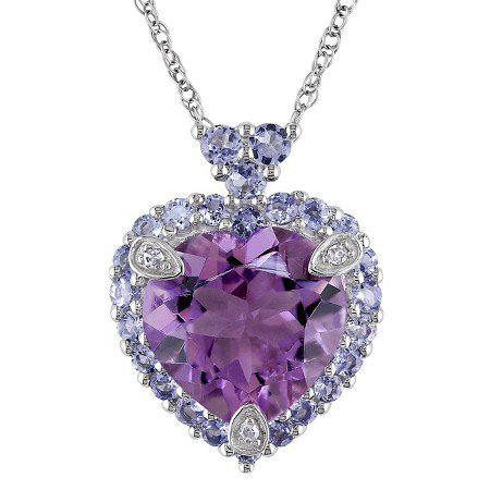 3.7 CT.W Heart Shaped Amethyst with Tanzanite and Diamond Pendant Necklace 10k White Gold