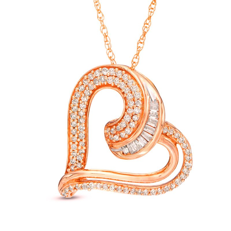 1/4 CTW Baguette and Round Diamond Tilted Heart Pendant in 10KT Rose Gold