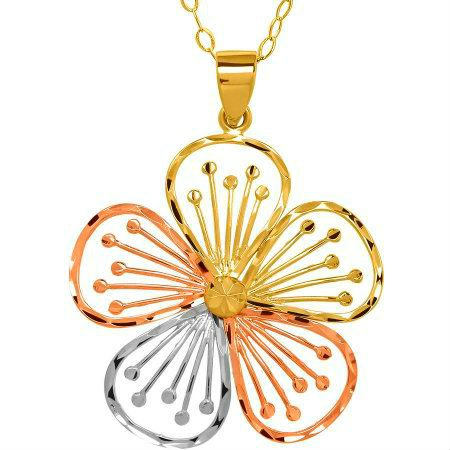 GORGEOUS 10KT ROSE YELLOW WHITE GOLD FLOWER PENDANT WITH CHAIN NECKALCE