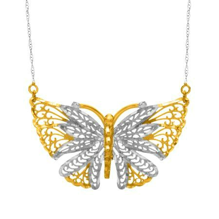 GORGEOUS 10KT YELLOW WHITE GOLD BUTTERFLY PENDANT NECKLACE