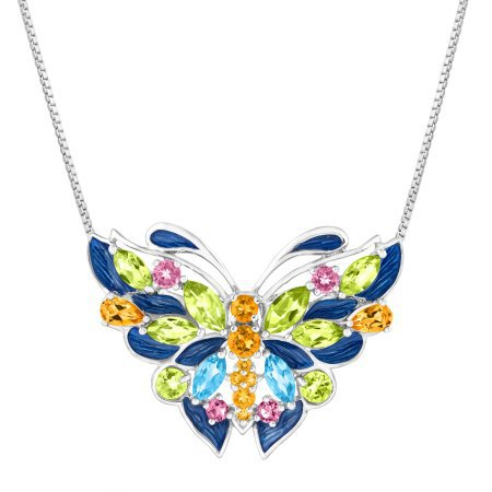 GORGEOUS 4 1/6 ct Natural Peridot, Citrine, Swiss Blue Topaz, Pink Tourmaline Butterfly Necklace
