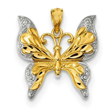 GORGEOUS 14KT YELLOW GOLD DIAMOND CUT POLISHED PENDANT with RHODIUM
