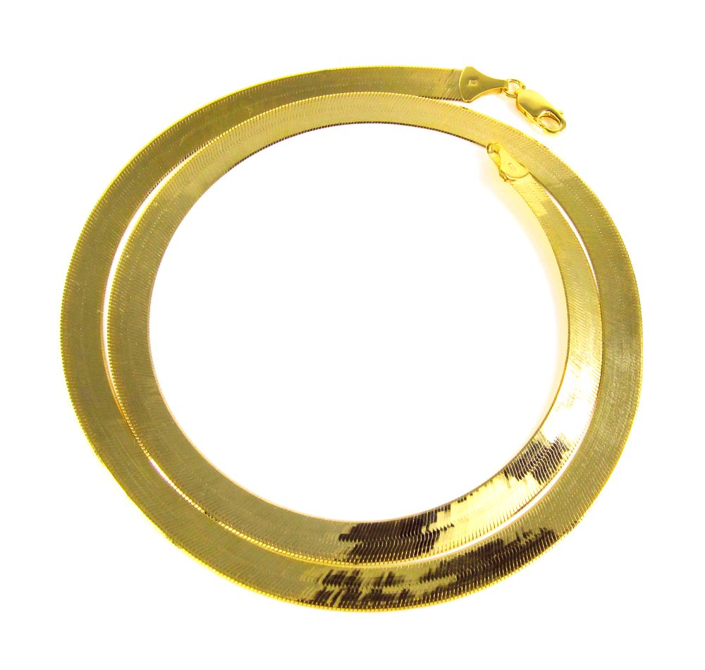 "AWESOME 30"" inch 14kt Gold 10mm wide Herringbone Chain"
