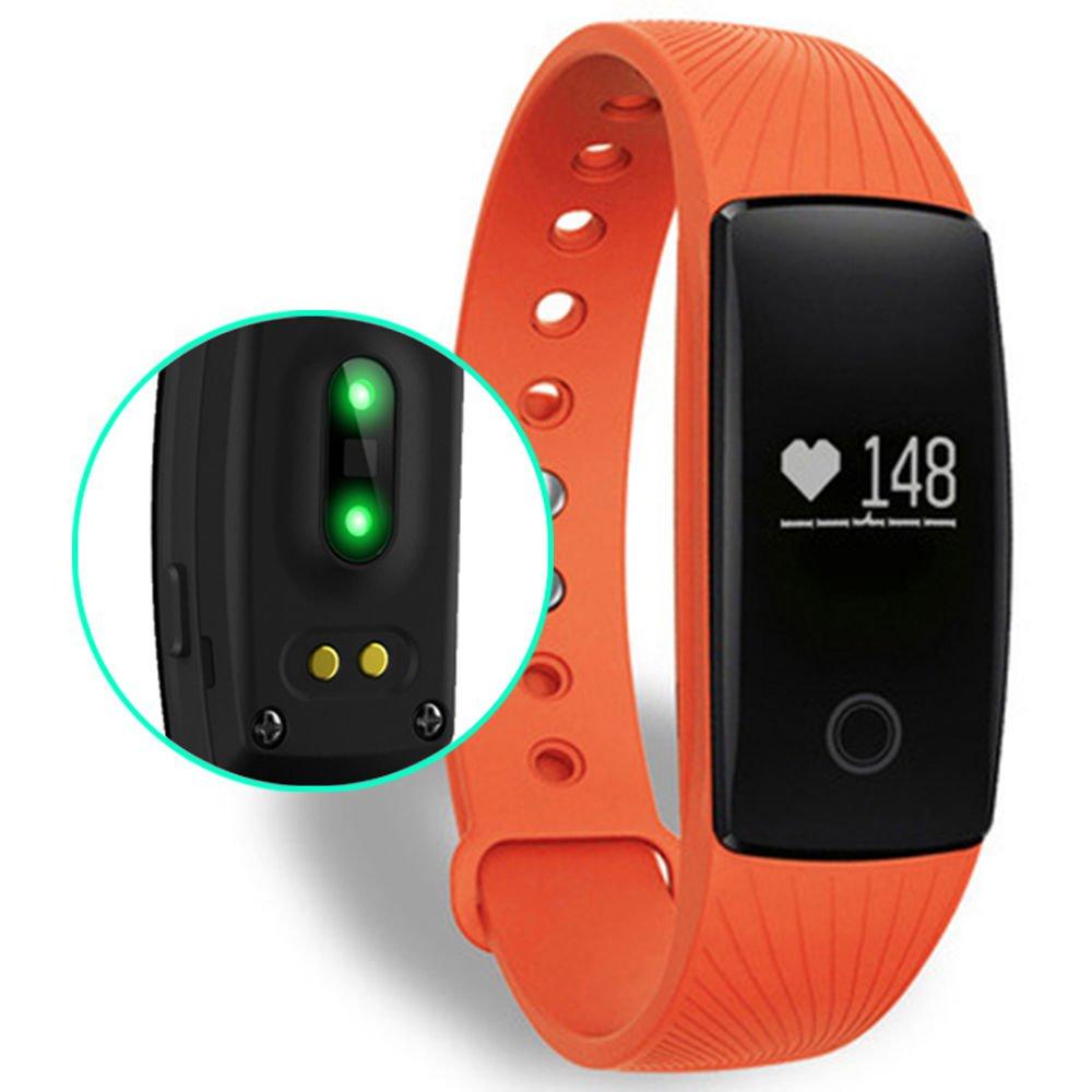 ID107 HRM Smart Bracelet Fitness Tracker Heart Monitor Pedometer Sleep Calorie Monitor - Orange