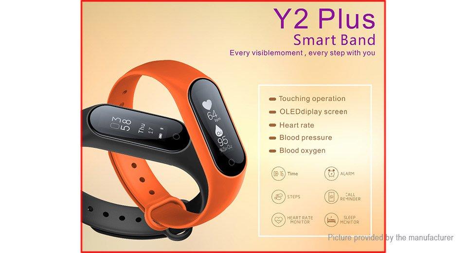 Y2+ 0.87' OLED Smart Fitness Bracelet Heart Rate+Blood Pressure+Oxygen - Black