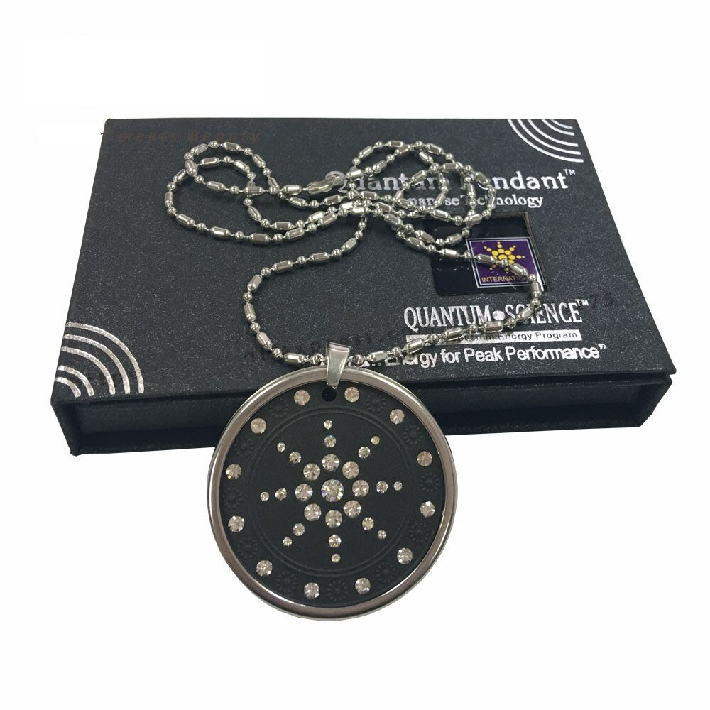 2X Quantum Scalar Energy Pendant 3000 Ions Lava Stone Stainless Steel Chain, Protector