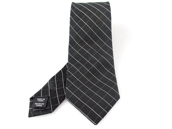Men's New George 100% Silk Black White Checkered Tie NWOT Necktie BL061