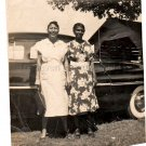 1940-50s African-American Women By Fancy Car Old Photo Black Americana Vintage