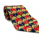 PAOLO BIANCO Men's New 100% Silk Tie Red Blue Gold NWOT Necktie Ties BL0192