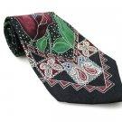 Men's New CHEZ ROFFE 100% Silk Tie Black Burgundy Green NWOT Necktie Ties BL0153