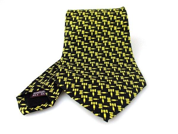 Men's New Museum Artifacts 100% Silk Black Yellow Gavel Tie NWOT Necktie BL064