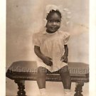1940s Vintage Cute African-American Girl w/Bonnet Photo Black Americana Children