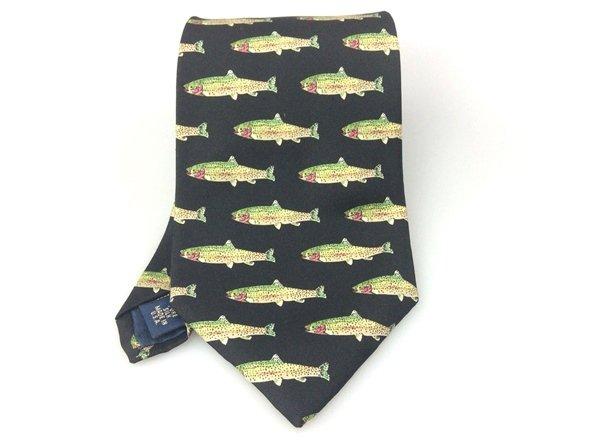 Men's New Huntington 100% Silk Tie Black & Green Fish NWOT Necktie Ties ST041