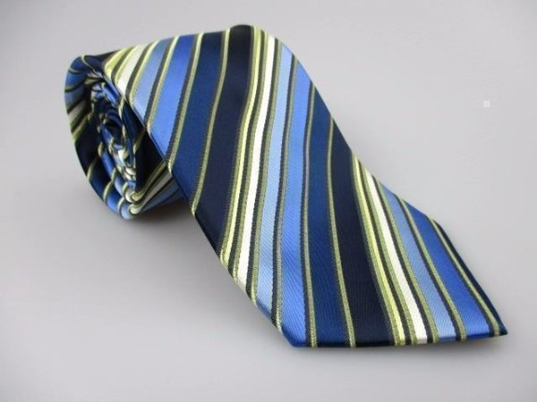 Men's New CHERESKIN Tie Blue Gold Stripes NWOT Necktie Ties BL0137