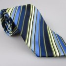 Men's New CHERESKIN Tie Blue Gold Stripes NWOT Necktie Ties BL0137