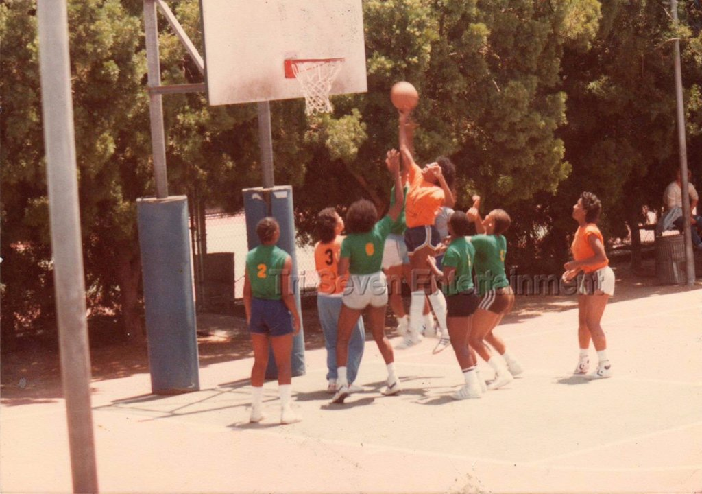 Vintage 1980s Black Women's Basketball Team Photo African-American Team League