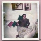 1970s Vintage African-American Flamboyant Man Relaxing on Bed Photo Black People