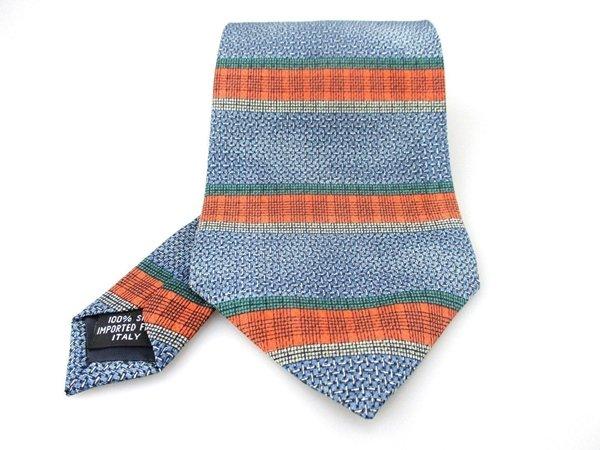 Men's New Mondo Classico 100% Silk Tie Blue Orange NWOT Necktie OR068
