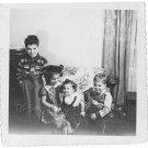 1940-1949 Vintage Happy Kids Old Photo American Children Black & White Original
